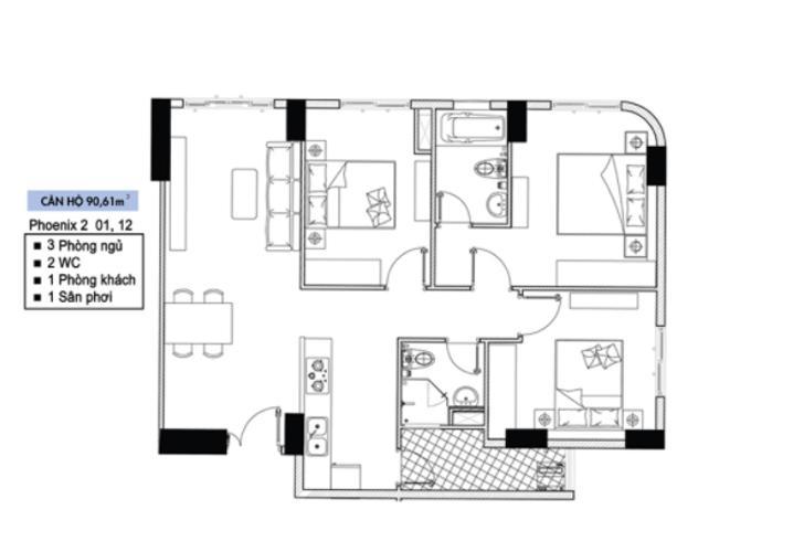 Căn hộ tầng 33 Topaz Elite có 3 phòng ngủ, không có nội thất.