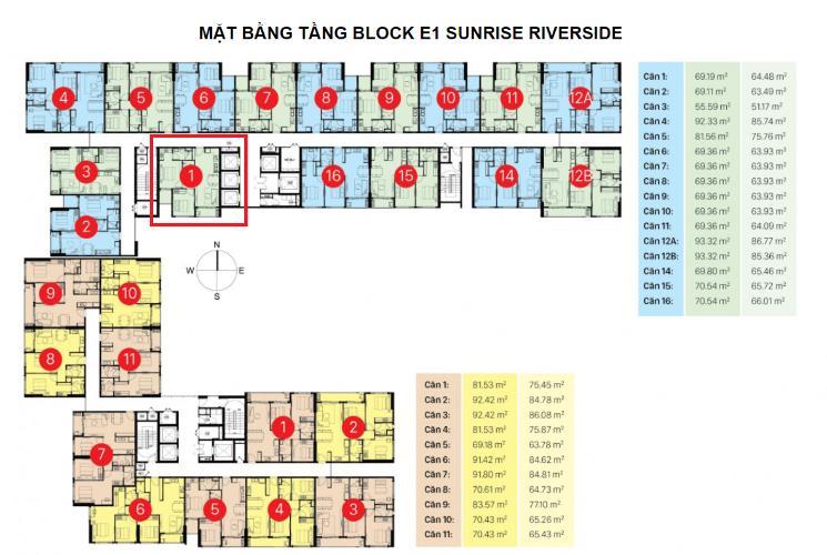 Mặt bằng block K và I Căn hộ Sunrise Riverside tầng thấp, hoàn thiện cơ bản nội thất.