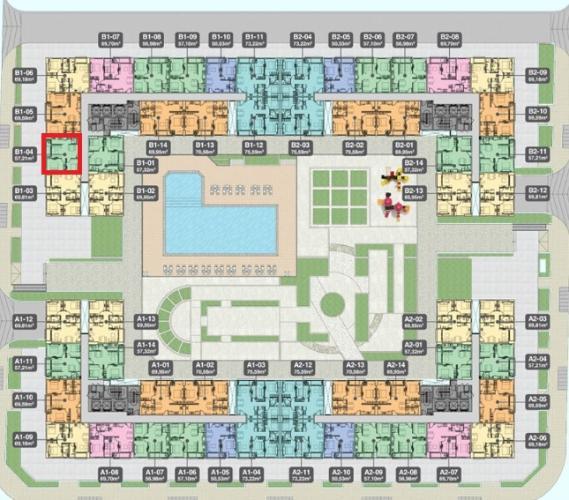 Mặt bằng căn hộ Q7 Boulevard Bán căn hộ Q7 Boulevard diện tích 57.21 m2, 2 phòng ngủ và 1 toilet, ban công hướng Tây.