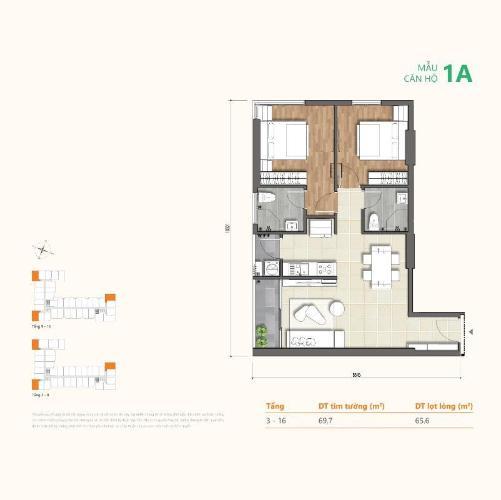 Mặt bằng căn hộ Ricca, Quận 9 Căn hộ Ricca tầng 10 thiết kế gam trắng sang trọng, nội thất cơ bản.