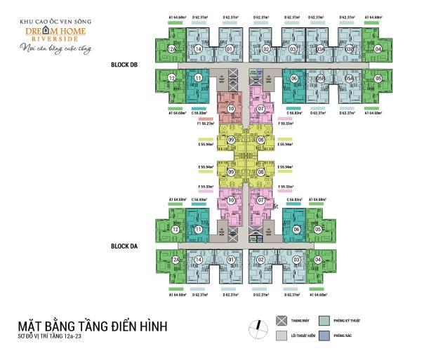 Căn hộ Dream Home RiverSide tầng 15 nội thất cơ bản, tiện ích đầy đủ.