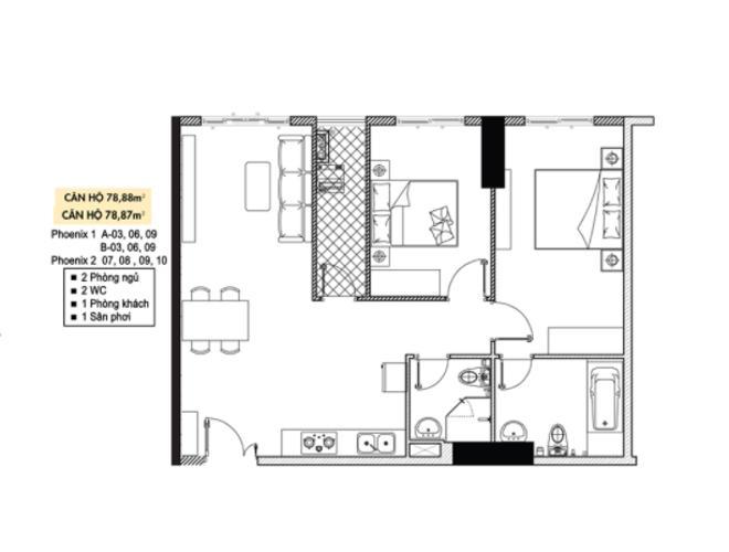 Căn hộ tầng 23 Topaz Elite không có nội thất, tiện ích đầy đủ.