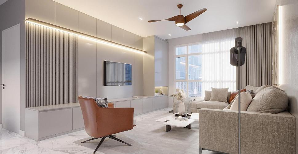Penthouse Him Lam Riverside tầng cao ban công hướng Đông Nam.