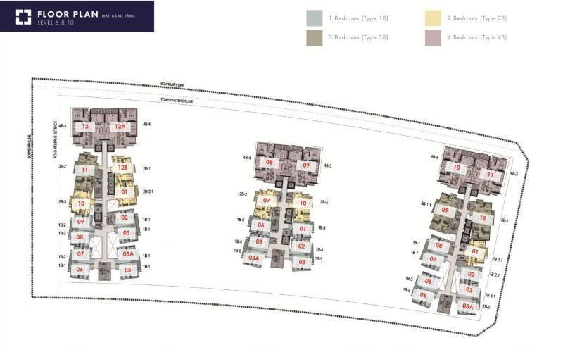 Layout tầng căn hộ The Metropole Thủ Thiêm, Quận 2 Căn hộ The Metropole Thủ Thiêm tầng 6, có 1 phòng ngủ view thoáng mát.