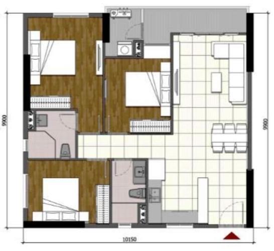 Căn hộ Opal Boulevard, Huyện Dĩ An Căn hộ tầng 8 Opal Boulevard nội thất cơ bản, tiện ích đầy đủ.