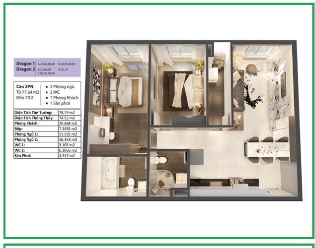 Căn hộ tầng cao Topaz Elite 2 phòng ngủ, view thành phố đẹp.