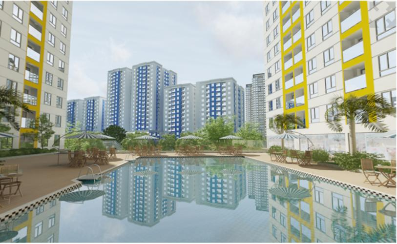 Nội khu hồ bơi City Gate  Căn hộ City Gate tầng trung, view nội khu hồ bơi.