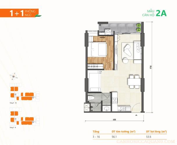 Căn hộ Ricca tầng 16 nội thất cơ bản, ban công thoáng mát