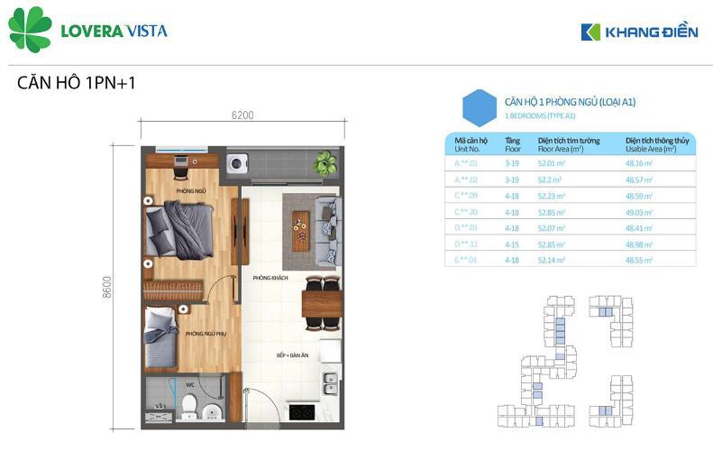 Căn hộ Lovera Vista tầng trung, bàn giao nội thất cơ bản.
