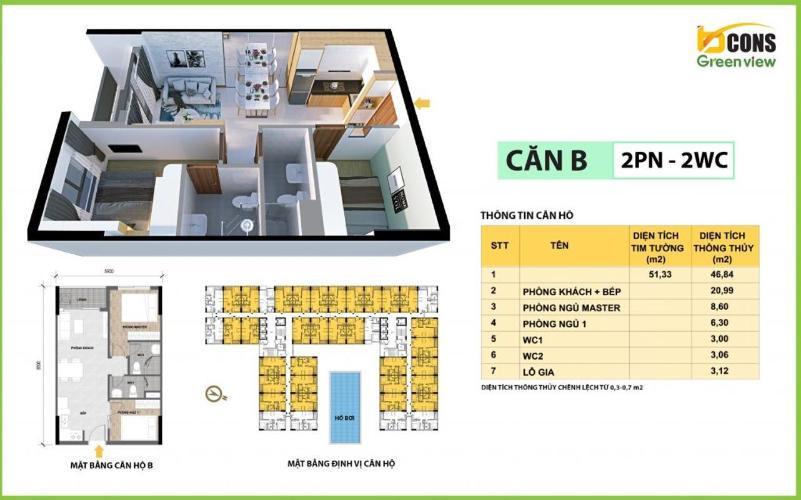Căn hộ Bcons Green View tầng trung, bàn giao nội thất cơ bản.