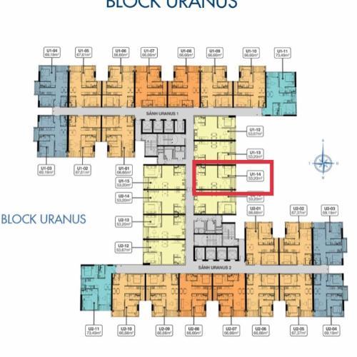 Mặt bằng căn hộ Uranus Q7 Saigon Riverside Căn hộ Q7 Saigon Riverside, tầng trung, thiết kế hiện đại.