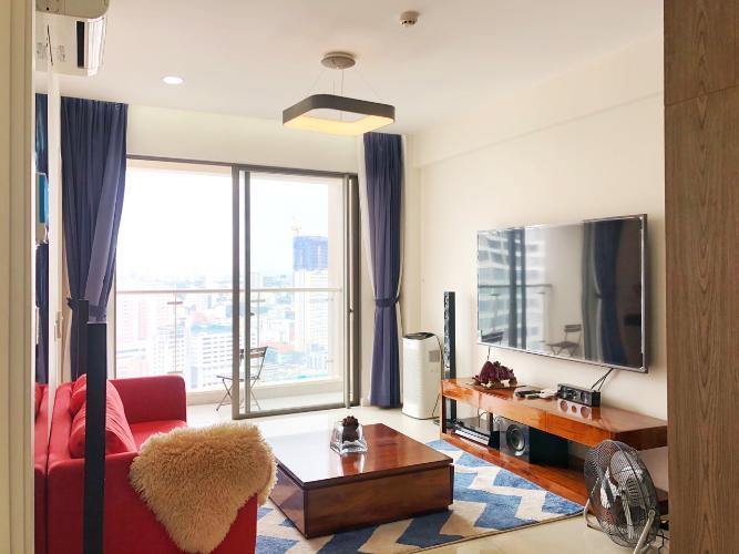 Phòng khách Masteri Millennium Quận 4 Căn hộ tầng cao Masteri Millennium nội thất hiện đại, view Q1.