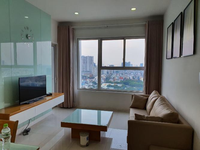 Phòng khách Galaxy 9, Quận 4 Căn hộ Galaxy 9 tầng cao, view thành phố.