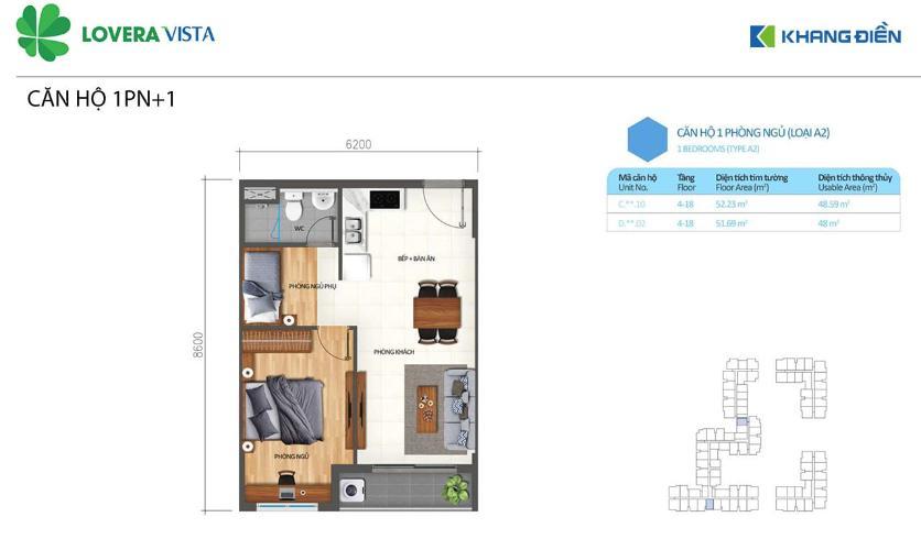 Căn hộ Lovera Vista có 1 phòng ngủ đón view thoáng mát, tiện ích đầy đủ