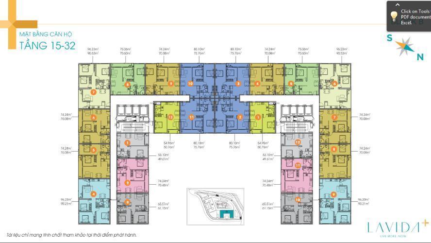 Mặt bằng căn hộ Lavida Plus, Quận 7 Office-tel tầng trung Lavida Plus kèm nội thất cơ bản.