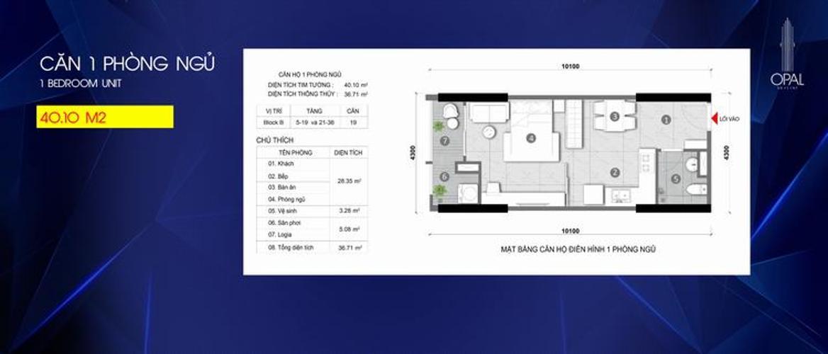 Căn hộ tầng cao Opal Skyline bàn giao nội thất cơ bản mới sang trọng.