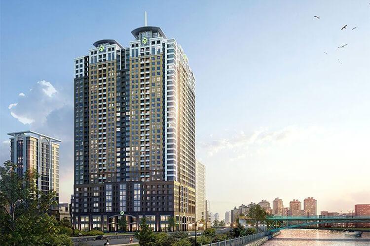Building dự án Officetel Saigon Royal tầng 07 ban công Tây Bắc thoáng đãng