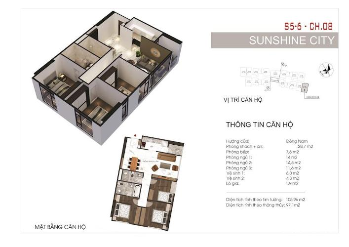 Căn hộ Sunshine City Saigon tầng 16, nội thất cơ bản.