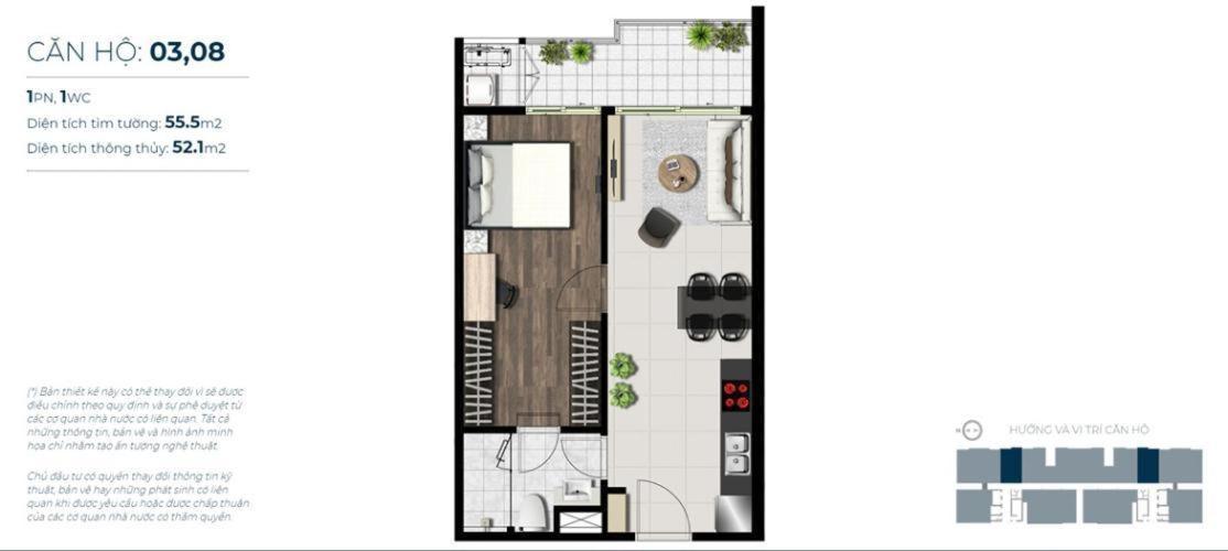 Căn hộ tầng cao Sky 89 nội thất cơ bản, 1 phòng ngủ.