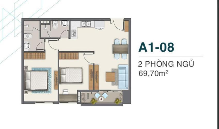 Layout Q7 Boulevard Căn hộ tầng trung Q7 Boulevard 2 phòng ngủ, nội thất cơ bản.