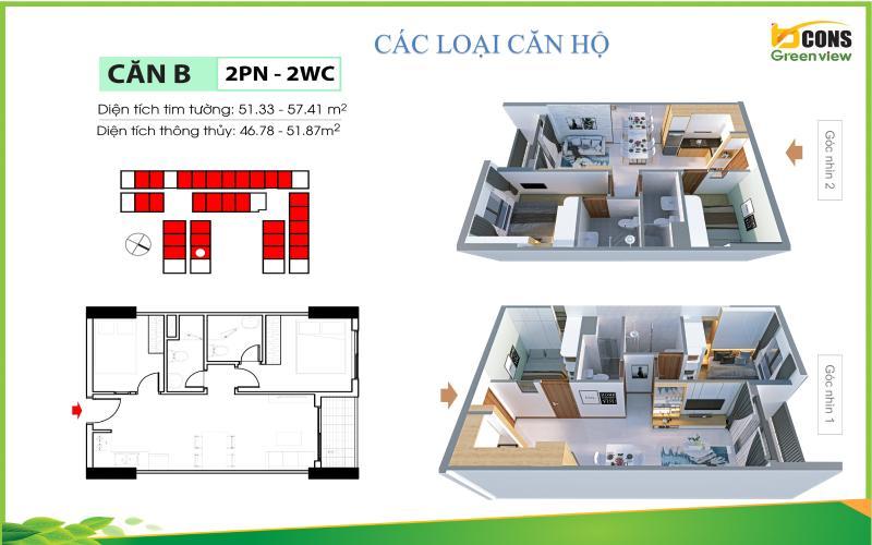 Layout căn hộ Bcons Green View , Dĩ An Căn hộ Bcons Green View tầng trung, nội thất cơ bản