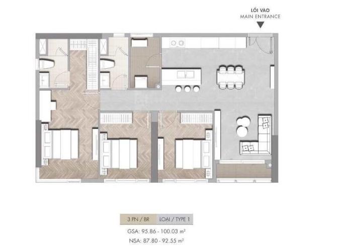 Căn hộ Masteri Centre Point tầng trung, 3 phòng ngủ.