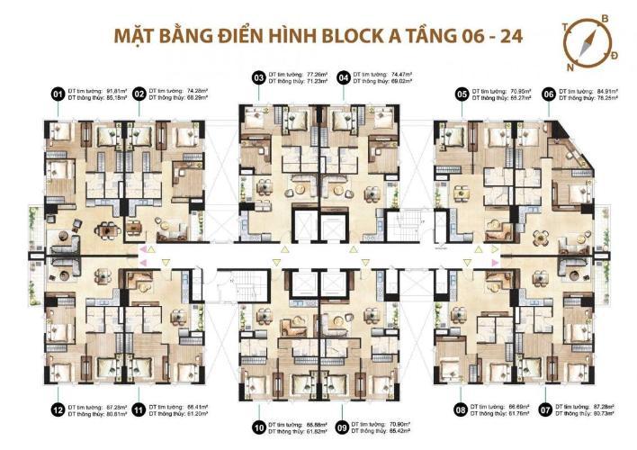 Căn hộ Paris Hoàng Kim có 3 phòng ngủ, bàn giao nội thất cơ bản.
