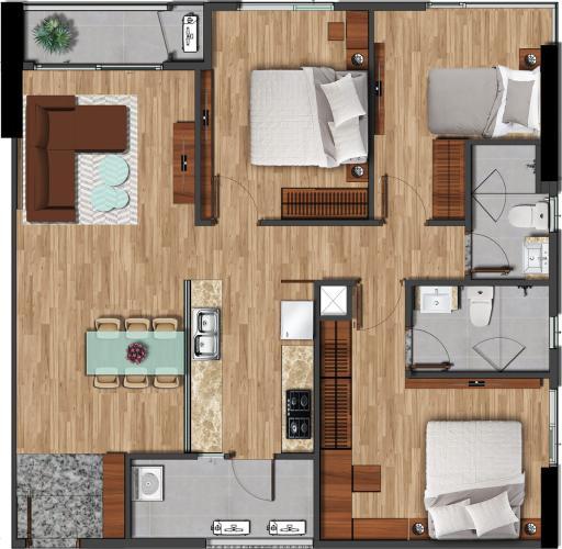 Căn hộ Akari City tầng trung, 3 phòng ngủ, view mát mẻ.
