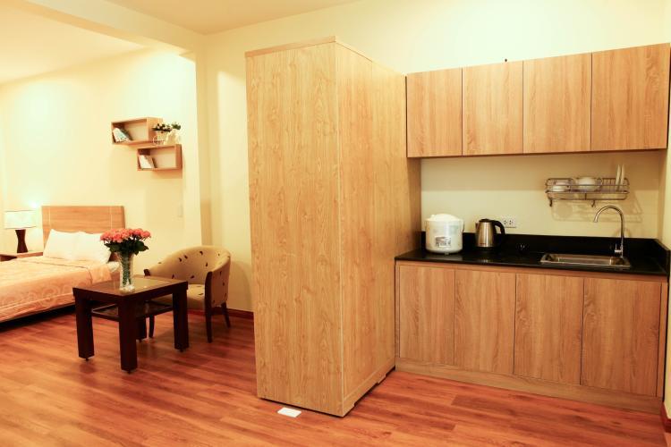 Phòng bếp căn hộ dịch vụ Quận 1 Căn hộ dịch vụ 1 phòng ngủ view thoáng mát, đầy đủ nội thất.