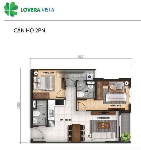 Căn hộ Lovera Vista có 2 phòng ngủ, thiết kế kỹ lưỡng nội thất cơ bản.
