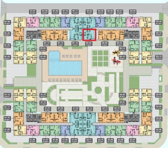 B2.3 Lo Căn hộ Q7 Boulevard diện tích 73.59m2, tầng thấp, ban công hướng Nam