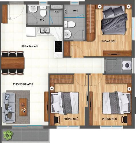 Căn hộ góc có  3 phòng ngủ  Lovera Vista tầng 18, tiện ích đầy đủ.