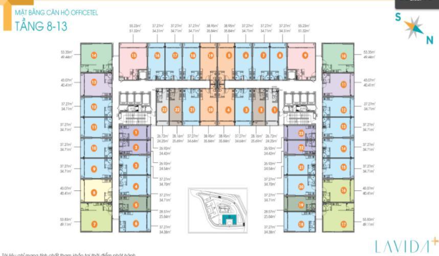 Mặt bằng chung Lavida+ Office-tel Lavida Plus tầng 9, bàn giao không kèm nội thất.