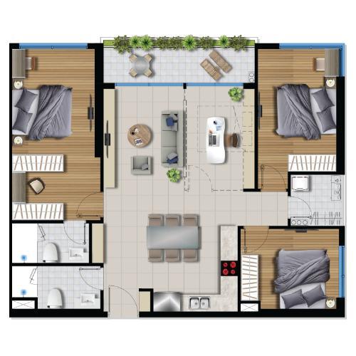 Layout căn hộ River Panorama , Quận 7 Căn hộ tầng trung River Panorama view thoáng mát, nội thất cơ bản.