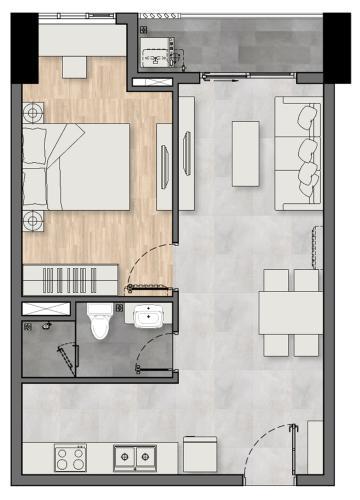 Căn hộ New Galaxy tầng trung, nội thất cơ bản.