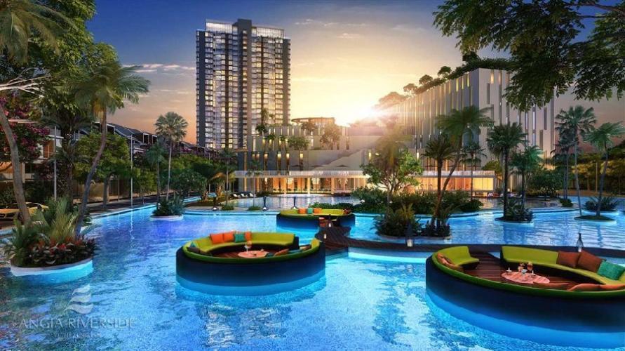 Nội khu hồ bơi River Panorama Căn hộ River Panorama hướng thành phố, nội thất cơ bản.