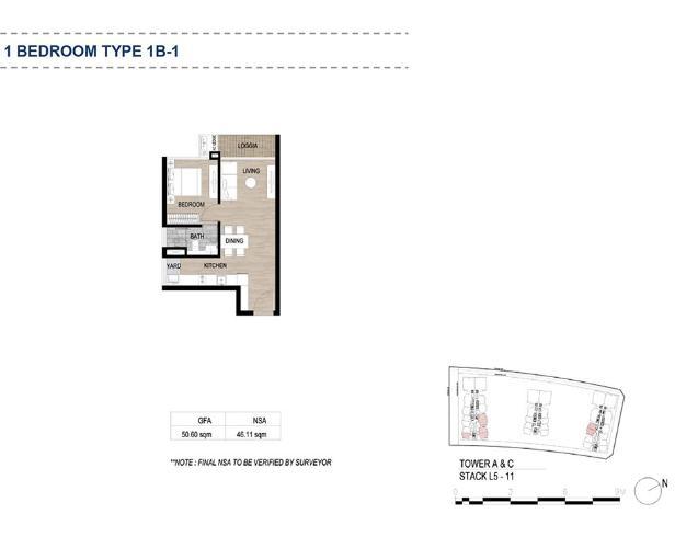 Layout căn hộ The Metropole Thủ Thiêm, Quận 2 Căn hộ The Metropole Thủ Thiêm tầng 6, có 1 phòng ngủ view thoáng mát.