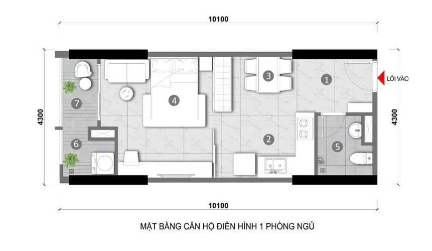 Căn hộ Opal Skyline tầng trung, nội thất cơ bản.