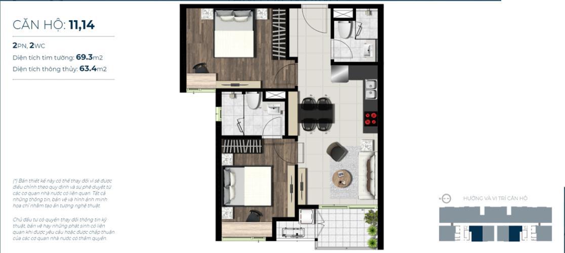 Căn hộ tầng 3 Sky 89 An Gia cửa chính hướng Đông, nội thất cơ bản