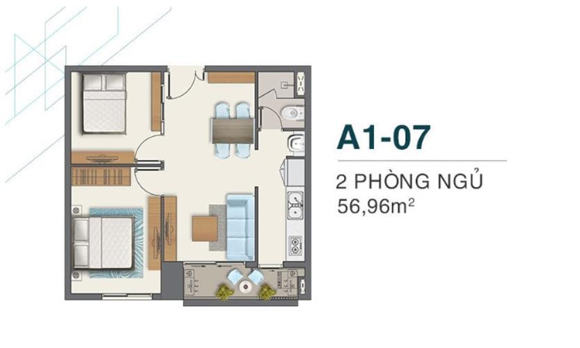 Bán căn hộ Q7 Boulevard diện tích 56.98m2, ban công Hướng Nam, chưa bàn giao