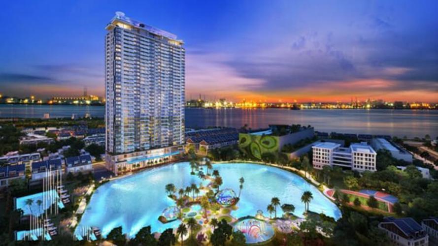 Building dự án Căn hộ River Panorama tầng trung, ban công đón view sông.