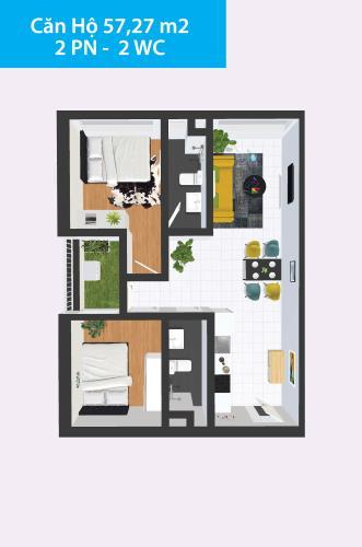 Layout Topaz Home, Quận 12 Căn hộ Topaz Home hướng Đông Bắc, nội thất cơ bản.