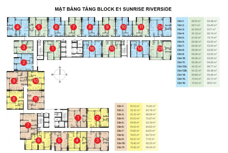 Mặt bằng block K và I Căn hộ Sunrise Riverside tầng cao, đầy đủ nội thất