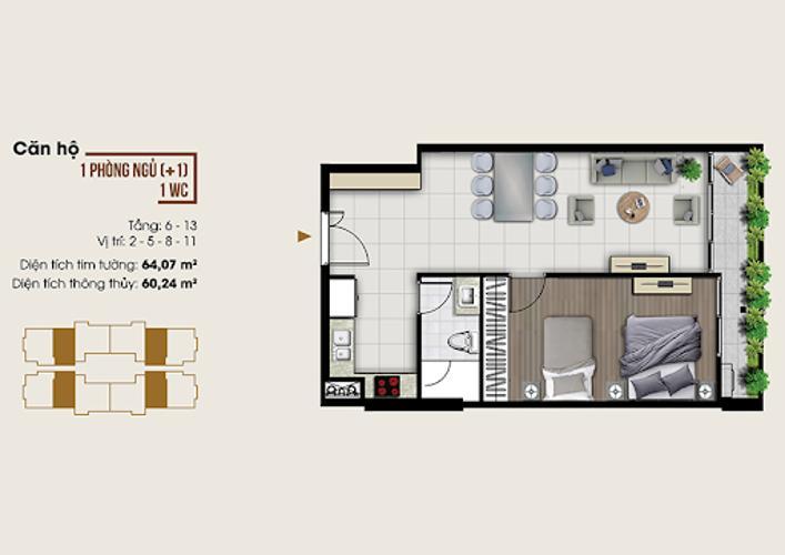 Căn hộ Ascent Lakeside tầng 6 có 1 phòng ngủ, nội thất cơ bản.