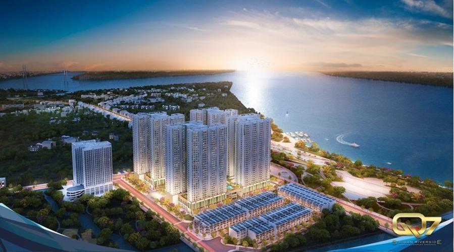 Q7 Sài Gòn Riverside Căn hộ Q7 Saigon Riverside tầng trung, ban công hướng Tây.