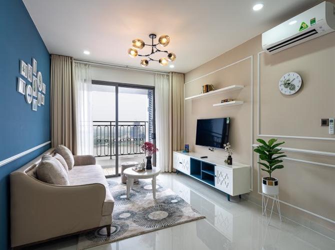 Phòng khách Saigon Royal, Quận 4 Căn hộ Saigon Royal tầng cao đón view sông, đầy đủ nội thất.