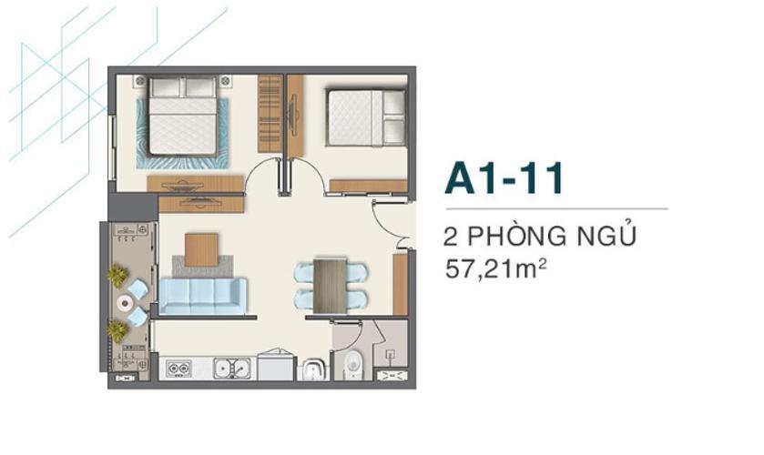 Căn hộ Q7 Boulevard diện tích 57.21m2 tầng cao