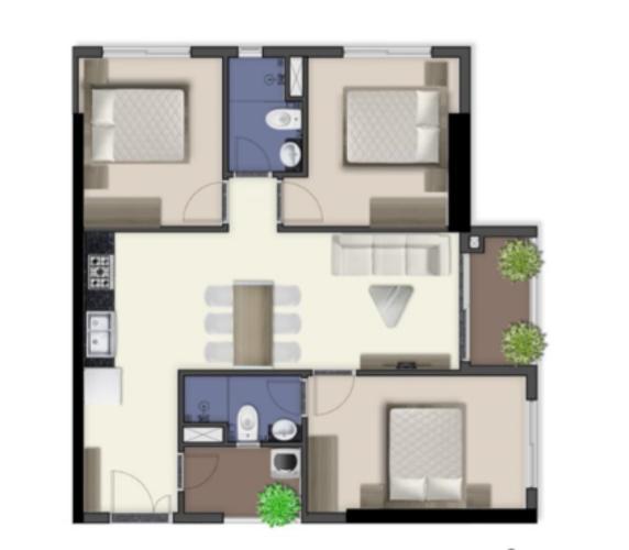 Căn hộ Q7 Boulevard tầng trung, nội thất cơ bản.