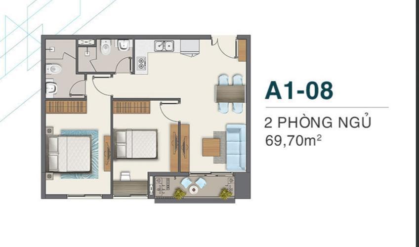 Căn hộ tầng trung Q7 Boulevard 2 phòng ngủ, nội thất cơ bản.