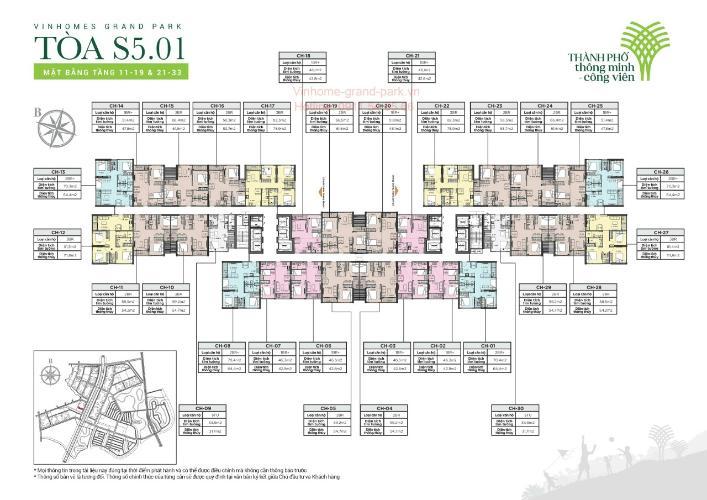 layout tháp S5.01 dự án Vin quận 9 Căn hộ Vinhomes Grand Park tầng trung lộng gió, view Tây Nam.